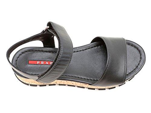 3X6019NERO Prada Sandale Femme Cuir Noir Noir