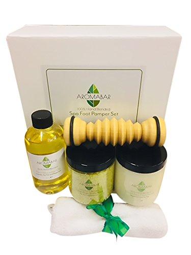 Salz Massage (Spa Fuß- Pamper Geschenk Set beinhaltet Fuss-Massage-öl, Frische Füße Salze Aufweichen, Dead Sea Peeling & Aus holz Fuß- Roller Massagegerät)