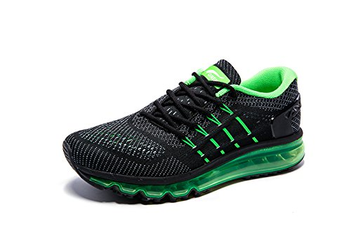 Onemix Air Laufschuhe Herren Straßenlaufschuhe Sneaker mit Luftpolster Sport Turnschuhe Sportschuhe Schwarz Grün Size 43 EU (Grau Schwarz Air)