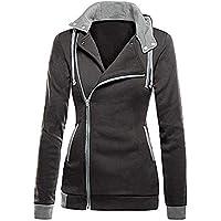 Hanomes Damen pullover, Damen Oblique Zipper Slim Fit Hoodie Jacke Langarm Bluse Mantel Sweatshirt preisvergleich bei billige-tabletten.eu