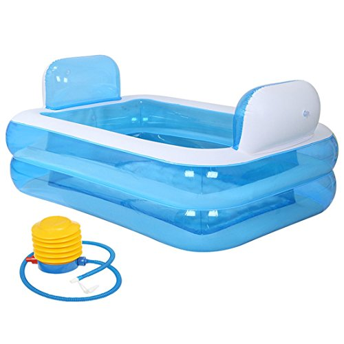 CHENHUAVerdicken Kunststoff Haushalt Bad Erwachsene Aufblasbar Falten Badewanne Bad mit Hand Pumpe 152 * 108 * 60 cm