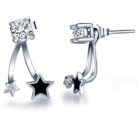 Infinite U Black Star Studs 925 Sterling Silver Cubic Zirconia Earring Jackets for Women/Girls (Multiple Wearing