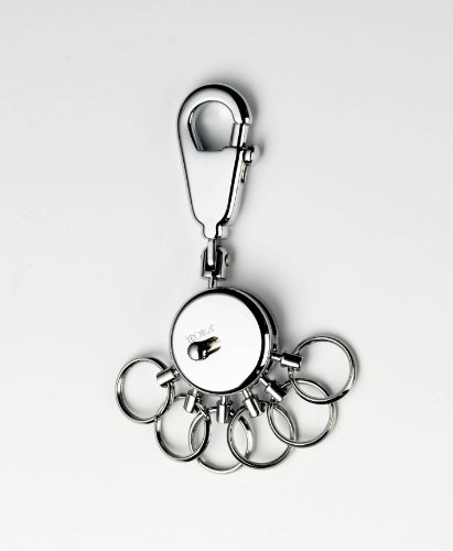 TROIKA PATENT SCHLÜSSELHALTER – KYR60/MC – rund, matt verchromt – Schlüsselanhänger mit Karabinerhaken – 6 ausklinkbare Ringe zur Schlüsselorganisation – das Original von TROIKA