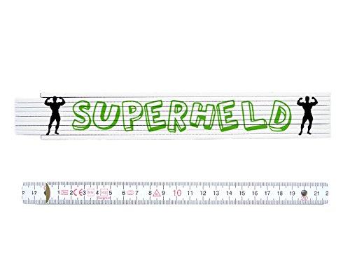 ZOLLSTOCK Spruch SUPERHELD Handwerker Lustig Geschenk Metermaß Meterstab