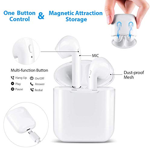 roycase Bluetooth inalámbricos Auriculares,  Auriculares Micrófono Estéreo con Estuche de Carga,  Auriculares con Cancelación de Ruido para Todos los Teléfonos Inteligentes.