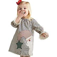Vestidos bebé niña,❤ Modaworld Vestido de Princesa con Rayas de Papá Noel de
