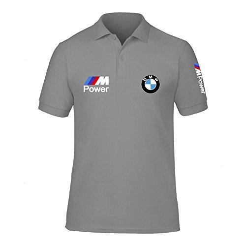 Preisvergleich Produktbild New Men's BMW Power Logo M Sport High Quality Polo Neck T Shirts UK Size S-XXL (Large) Grey