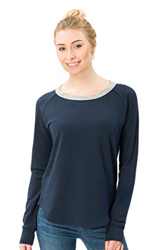 super.natural Bequemes Damen Langarm-Shirt, Mit Merinowolle, W City Crew, Größe: S, Farbe: Dunkelblau/Grau