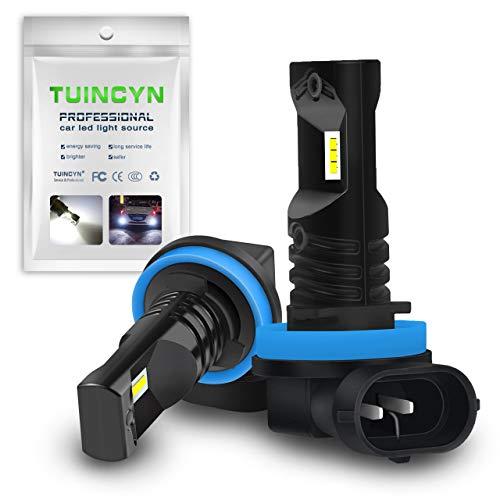 TUINCYN - Feu de brouillard LED H11 H9 H8 pour voitures - Puces CSP, 1600 lm, 6500 °K, blanc froid, 80 W, feux de jour