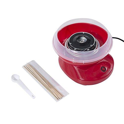 HOMCOM Macchina per Zucchero Filato in PP, Acciaio Inox e Alluminio 450W 27 x 26 x 18cm Rosso