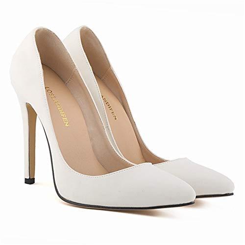 Top Shishang Frauen Spitze Zehe Ankle Tie High Heel Plattform Slip On Sexy Party Hochzeit, White Scrub, 35 - White Scrub-top