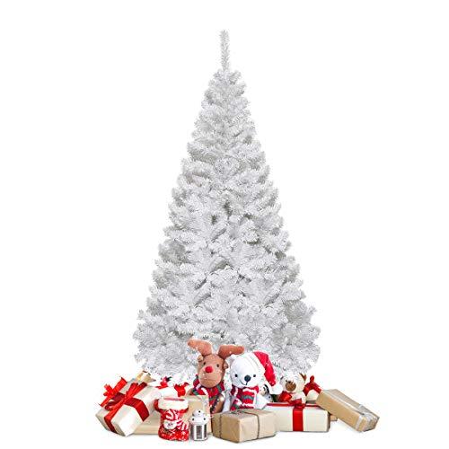 COSTWAY Weihnachtsbaum künstlicher Tannenbaum Christbaum Kunstbaum Dekobaum mit Metallständer 150cm/180cm/210cm/240cm weiß (150cm)