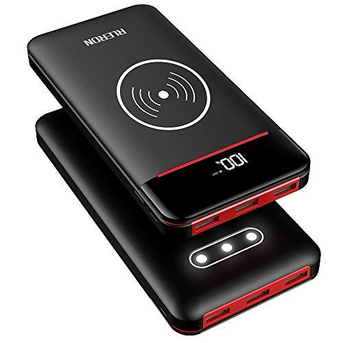 RLERON Batterie Externe 25000mAh Power Bank sans Fil Rapide Chargeur à Induction avec 3 Ports USB & 2 Entrées(Type-C & Android Device) pour iPhone,iPad,Android Smartphone,Tablettes et