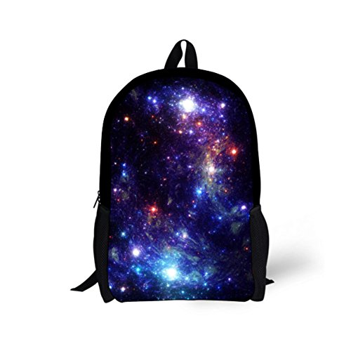 HUGS IDEA Fashion Galaxy Star Rucksack für Teenager Mädchen Schule Buch Tasche Galaxy 8 17.3x11x5.1 inches