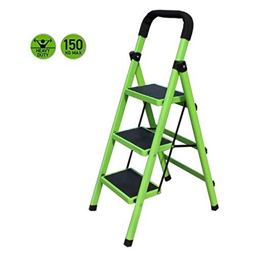 Klapptritt, 3-stufige Leiter - Faltbare Metall-Haushalts-Mehrzweckleiter mit rutschfesten Gummi-Trittflächenmatten (330 lbs) - Grün