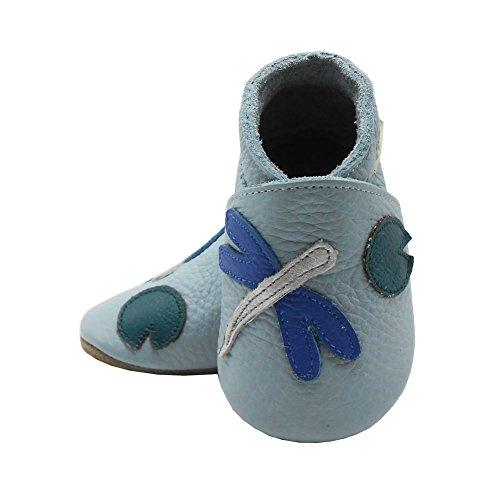 Sayoyo libellule chaussures de bébé en cuir souple chaussures semelle douce Bleu