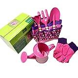 ZUJI Gartengeräte Kinder Mini Gartenset mit Kettle Handschuhe Outdoor Garten Spielzeug Gartenwerkzeug für Mädchen und Junge (Rosa)