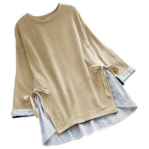 Kviklo Deman Plus Size Shirt Tops Streifen Schnür Einfarbig Patchwork Loose Baggy Bluse Oversize(M(38),Beige) -