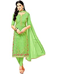 Rajnandini Women's Heavy Chanderi Embroidered Dress Material(JOPLMF4014_Light Green_Free Size)