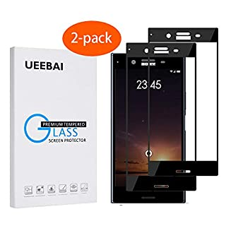 UEEBAI 2 Pack Screen Protector for Sony Xperia XZ Premium, [Full Coverage] Premium 9H Tempered Glass Screen Protector Ultra Thin Case-Friendly Shatterproof Anti-Scratch Easy Installation - Black