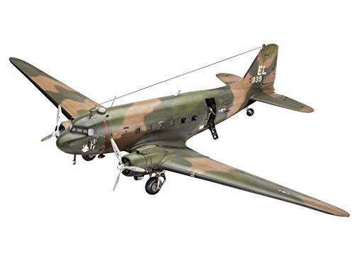 Revell Modellbausatz Flugzeug 1:48 - AC-47D Gunship im Maßstab 1:48, Level 5, originalgetreue Nachbildung mit vielen Details, 04926 (C-47 Modell)