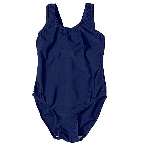 7190 Mädchen Badeanzug, für den Schulunterricht, blau (Badeanzüge Couture)