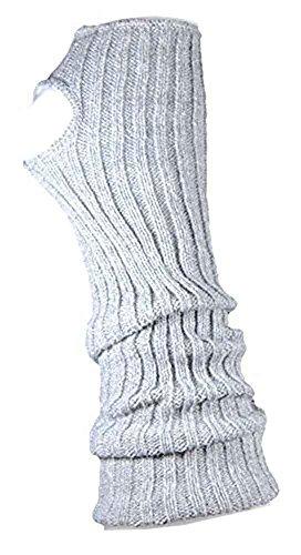 Stulpen Damen / Mädchen / Kinder - Ballettstulpen + Fersenloch - Tanzstulpen Beinstulpen Armstulpen Strick Weich Legwarmer (Erwachsene (ca. 43cm lang), grau)