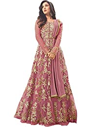 4b5a89ed4b45 Dharmi Fashion Women's Net Heavy Embroidered Semi-Stitched Gown (Free Size)