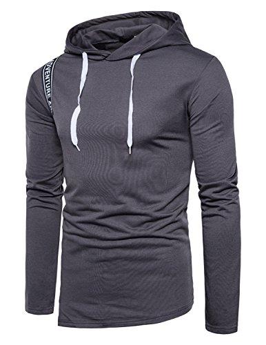 Boom Fashion moda Felpa con Cappuccio da Uomo cappotto stampa Thicker Tenere caldo Hoodie Grigio