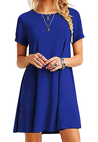 OMZIN Shirt Flowy Kleid Grünes Kleid Casual Sleeve Wein Long Womens Lose Blau 4XL (Casual Wein)
