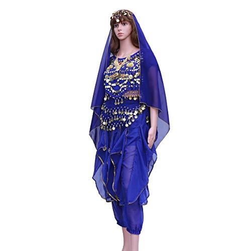 FENICAL Indischer Tanz Bauchtanz Kurzarm Rotary Hose Performance Set (Saphirblau, Tops + Pants + Taille Kette + Headwear Schleier + Halskette)