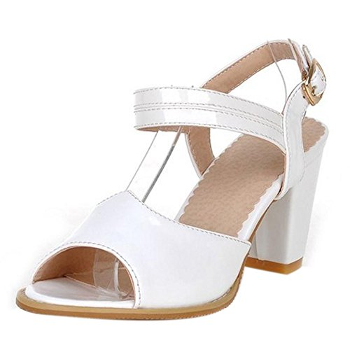TAOFFEN Femmes Classique Peep Toe Sandales Bloc Talons Moyen Sangle De Cheville Chaussures Blanc