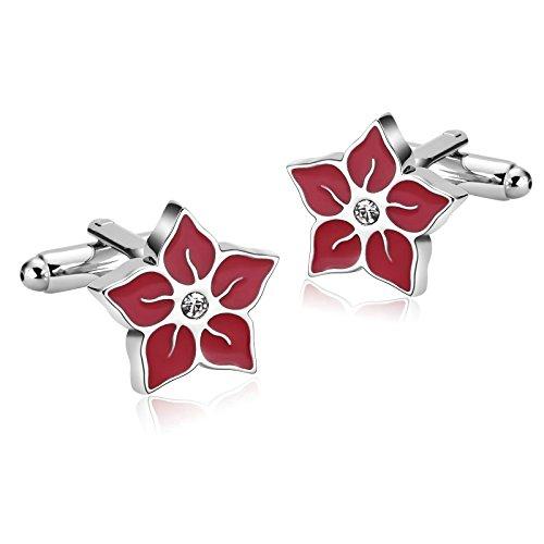 Aeici Herren Manschettenknöpfe Silber Rot Material Blume Design Manschettenknöpfe