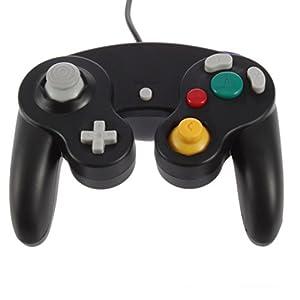 Althemax® NGC Schwarz Dualshock Spiel-Schlag Joypad Steuerpult Gamepad für Nintendo Wii GC NGC GameCube
