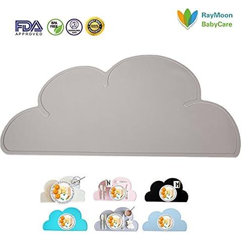 RayMoon Non-Slip Wolke Form Wasserdichte Silikon Esstisch Tischset Tischplatte Feeding Matte für Baby und Kleinkinder (Food Grade Pvc-material)