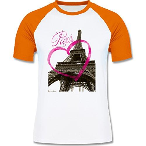 Städte - I love Paris - zweifarbiges Baseballshirt für Männer Weiß/Orange