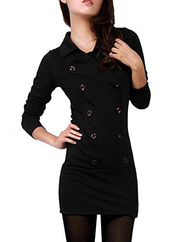 Allegra K Women Long Sleeve Fitted Casual Mini Shirt Dress XS Black
