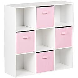 Hartleys Unité De Rangement Blanc A 9 Cubes & 4 Bacs De Rangement Rose