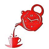 FLEXISTYLE Orologio da Parete da Cucina Tazza e Bricco Rosso Grigia Silenzioso Moderno per Bar 3 d Decorativo