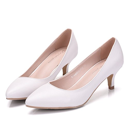 Damen Brautschuhe /Weiße Hochzeitsschuhe/Bequeme Strass High Heels/Pearl Silk Lace /Kristall Hochzeit Schuhe BrautDie Spitze, mit einer großen Anzahl von Weißen 37