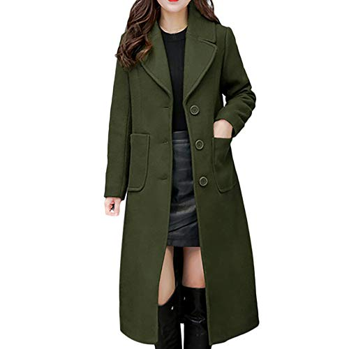 IMJONO Damen Winter Lapel Slim Long Coat Jacket Parka Outwear Wool Overcoat (Large,Grün)