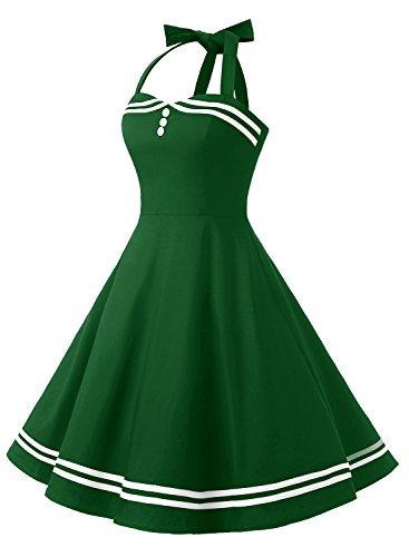 Timormode Rockabilly Kleider Neckholder 50s Vintage Kleid Retro ...