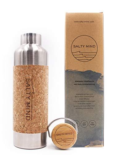 Salty Mind nachhaltige Edelstahl Trinkflasche 750ml isoliert - BPA frei, Kork   Thermo Wasserflasche, auslaufsicher, schadstofffrei, geschmacksneutral   Tragegriff Yoga Büro Outdoor