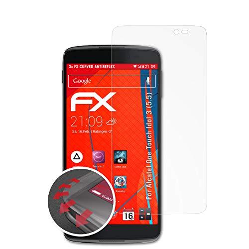 atFolix Schutzfolie passend für Alcatel One Touch Idol 3 (5.5) Folie, entspiegelnde & Flexible FX Bildschirmschutzfolie (3X)
