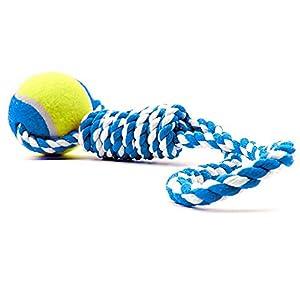 petfun recommandé Jouet interactif pour chien Corde en coton résistant avec une Golf ball-three couleurs, Rouge, Vert et Bleu 36 cm
