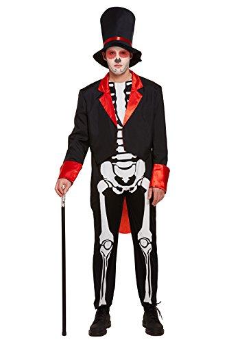 Emmas Wardrobe Tag der Toten mexikanischen Outfit - Mit Skeleton Top, Jacke und Hose - Steampunk Kostüm für Halloween oder Parades - hochwertige Materialien - UK Größen M L XL ()