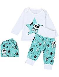 Amlaiworld Bebé niños niñas manga larga impresión camiseta + pantalones largos + sombrero ropa conjunto 0-2 Años (Tamaño:6-12Mes,…