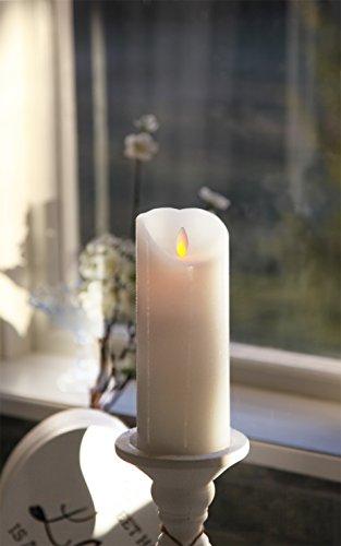 Best Season - Led real de velas de cera - centelleo línea interior - batería - contador de tiempo - se movió - -> 8 x?20cm - blanco