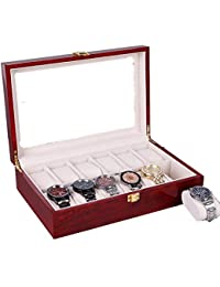 12 Slots Wooden Watch Case Jewelry Display Storage Box Case Bracelet Tray with Removable Soft Pillows