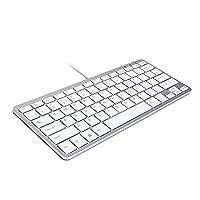 GMYLE Ultra Thin Wired USB Mini Keyboard - Metallic Silver + White (White & Metallic Silver)
